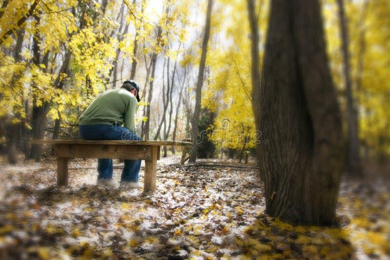 L'homme contemple des questions vitales sur un banc dans l'automne FO photos stock
