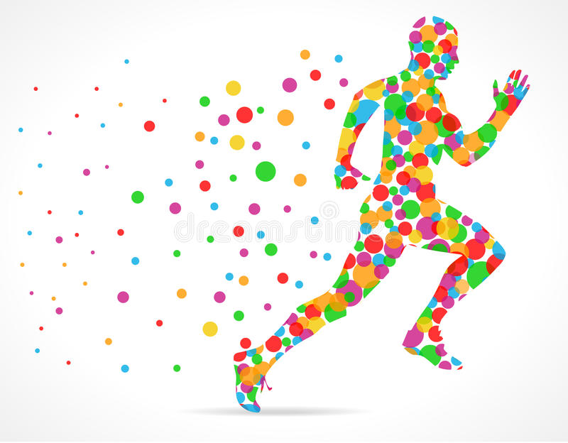 L'homme courant avec des cercles de couleur, sports équipent le fonctionnement illustration libre de droits