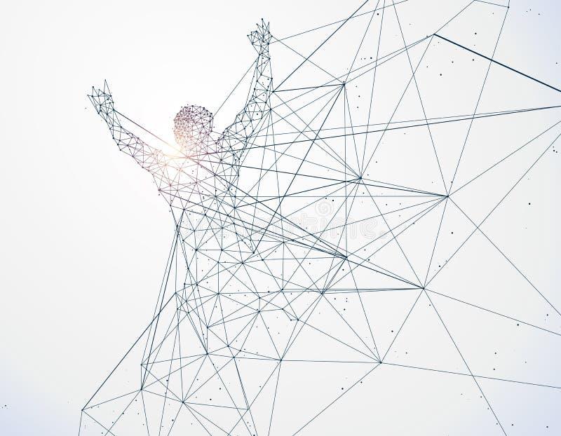 L'homme courant, connexion réseau a tourné dans illustration stock