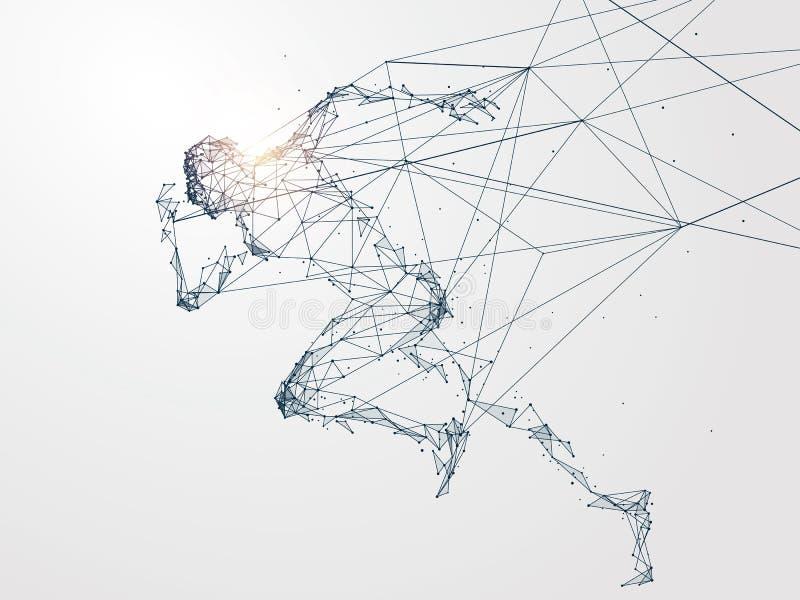 L'homme courant, connexion réseau a tourné dans illustration de vecteur