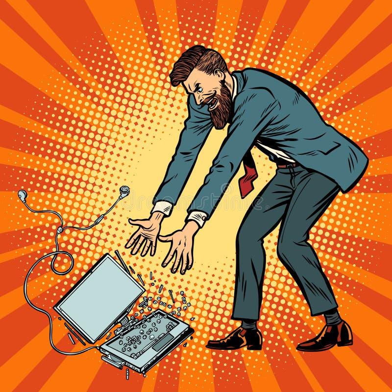 L'homme détruit l'ordinateur portable Tension au travail illustration libre de droits