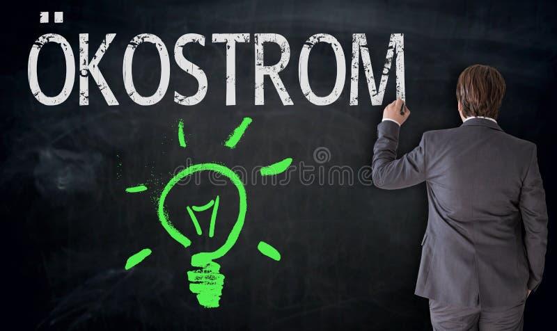 L'homme d'affaires écrit Ã-kostrom dans la puissance allemande d'eco sur le tableau noir images libres de droits