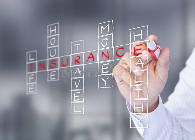 L'homme d'affaires écrivent le concept d'assurance-vie photos libres de droits