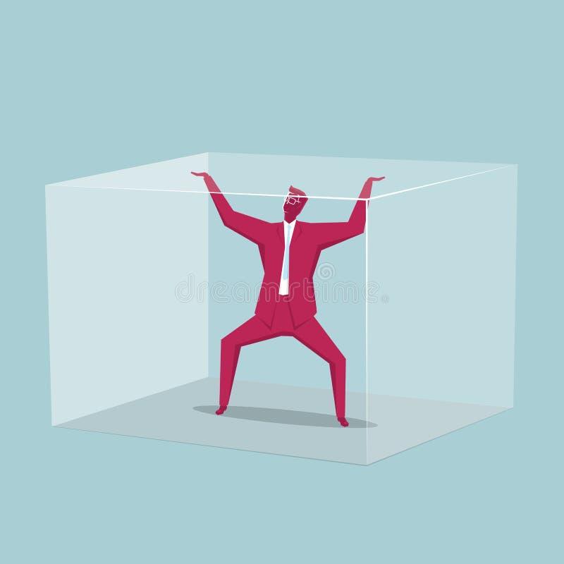 L'homme d'affaires a été emprisonné dans la boîte illustration stock