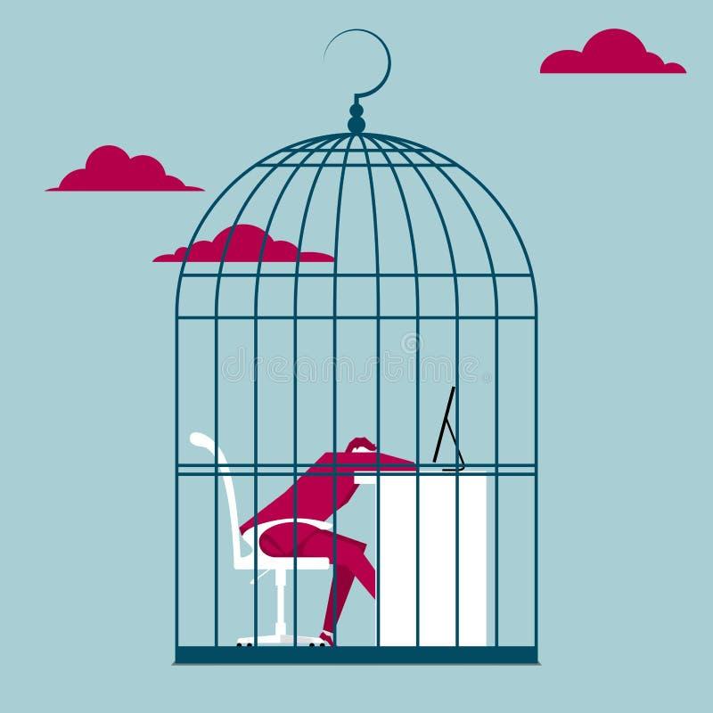L'homme d'affaires a été emprisonné dans une cage à oiseaux illustration libre de droits