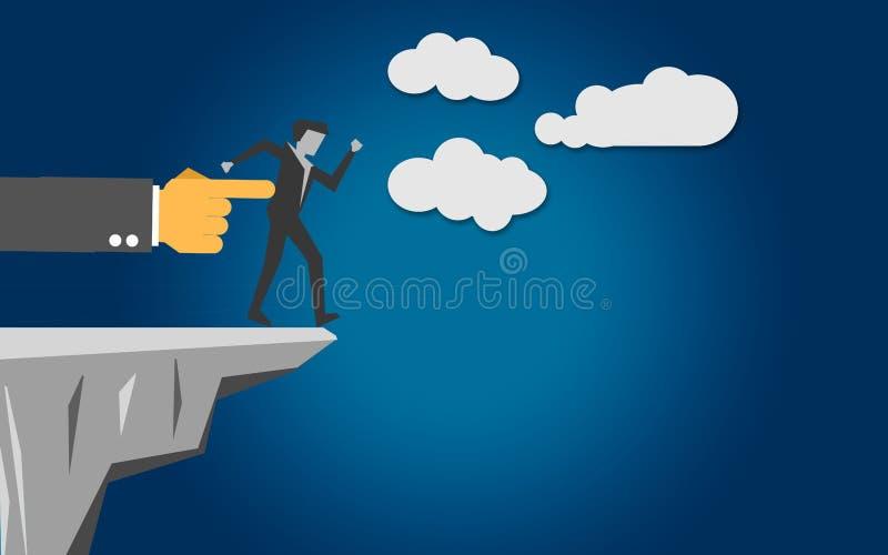 L'homme d'affaires a été poussé au bord de la falaise illustration libre de droits