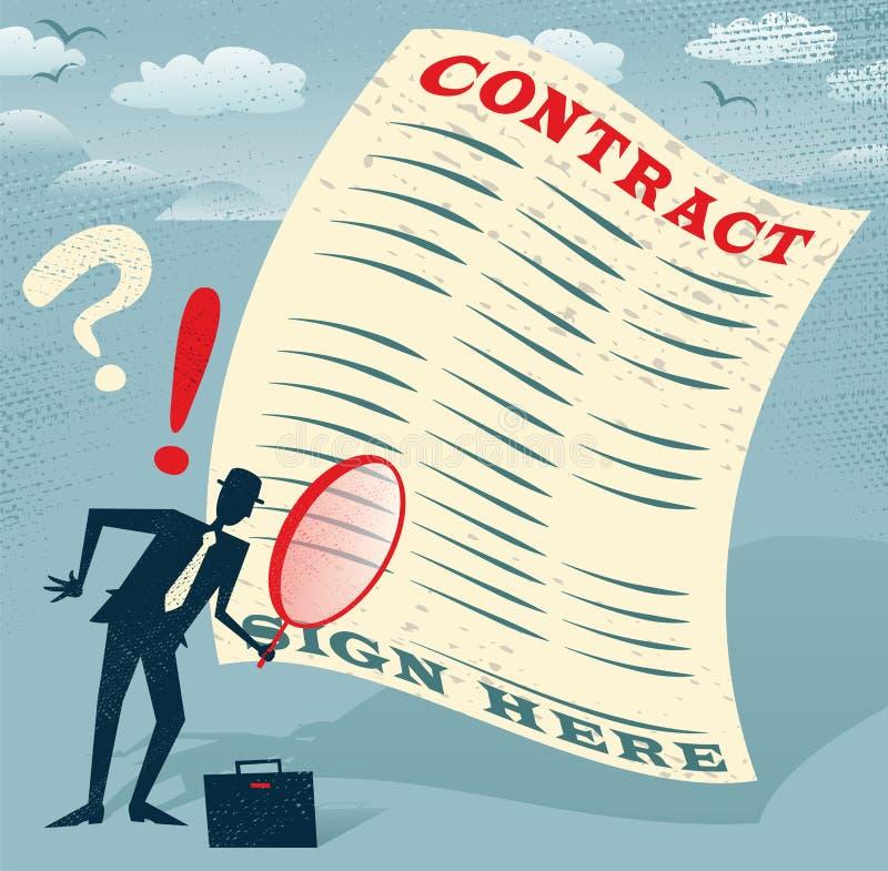 L'homme d'affaires abstrait inspecte le contrat illustration libre de droits