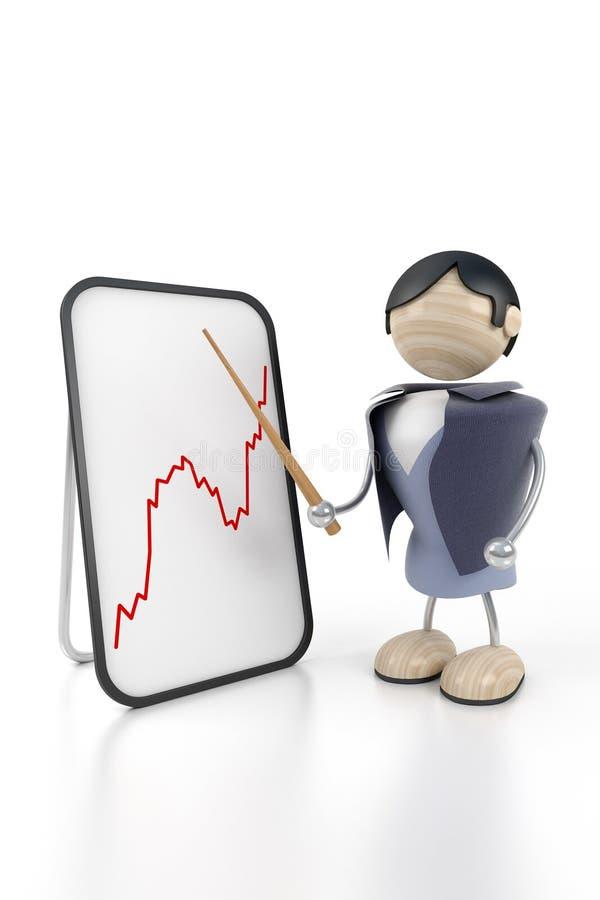 L'homme d'affaires affiche le graphique à la présentation illustration libre de droits