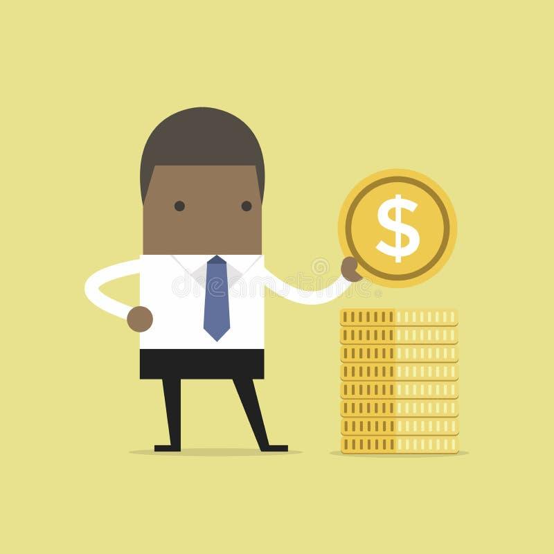 L'homme d'affaires africain met la pièce d'or dans une pile illustration de vecteur