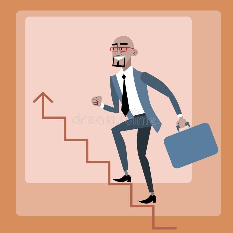 L'homme d'affaires africain monte l'échelle de carrière illustration stock