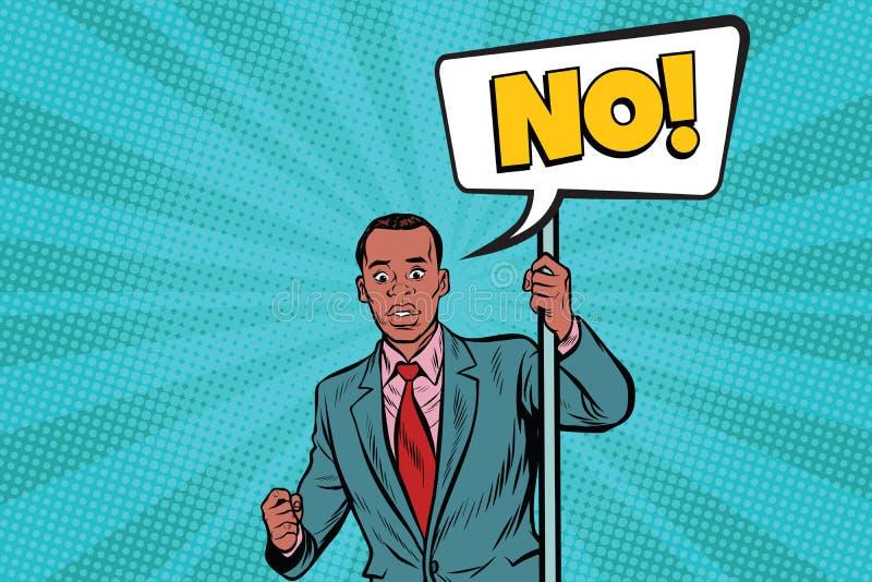 L'homme d'affaires africain proteste l'aucun illustration libre de droits
