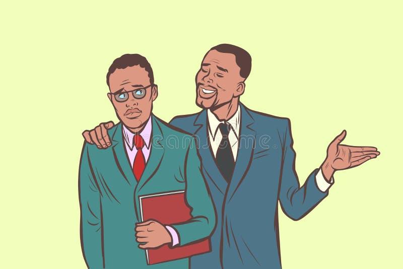 L'homme d'affaires africain que les conforts soutient bienveillant sent l'autre SA illustration stock