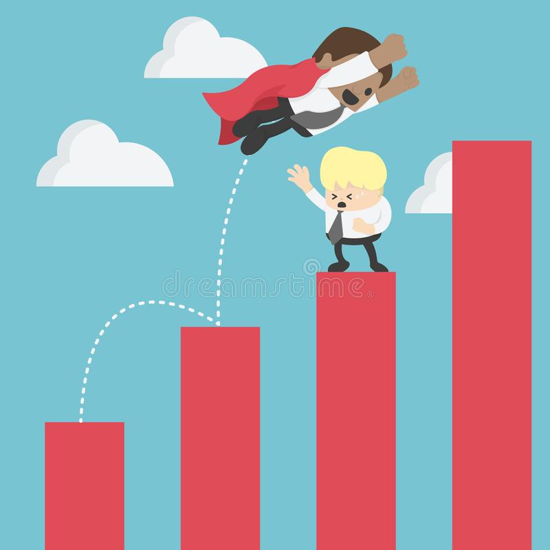 L'homme d'affaires africain sautent par-dessus des graphiques montants en avant pour le succès illustration stock