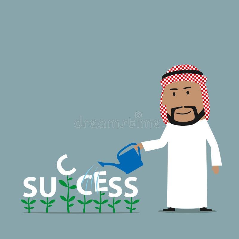 L'homme d'affaires Arabe élève un succès illustration libre de droits