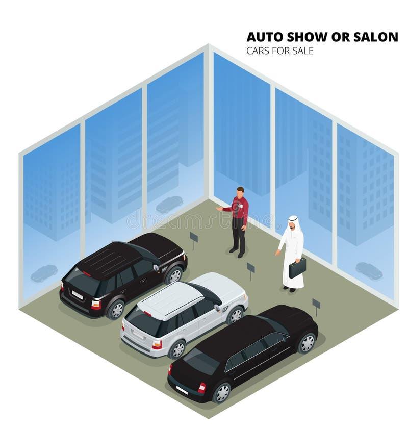 L'homme d'affaires arabe choisit la voiture de luxe Illustration isométrique du vecteur 3d plat Véhicules à vendre Commerce de l' illustration de vecteur