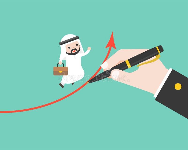 L'homme d'affaires arabe courent sur le graphique qui dessin de grande main, succès illustration de vecteur