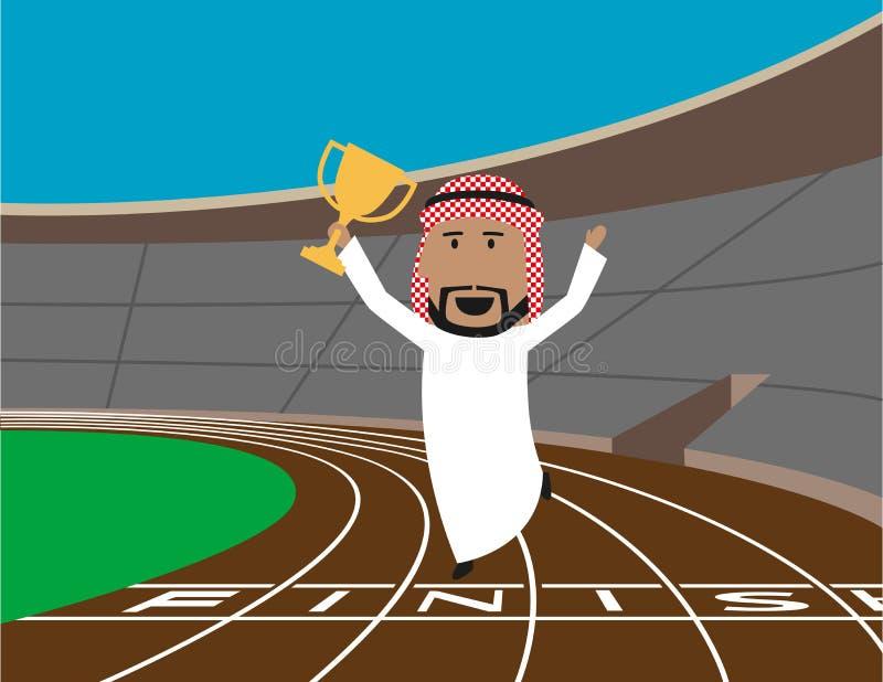 L'homme d'affaires Arabe gagne le trophée illustration de vecteur