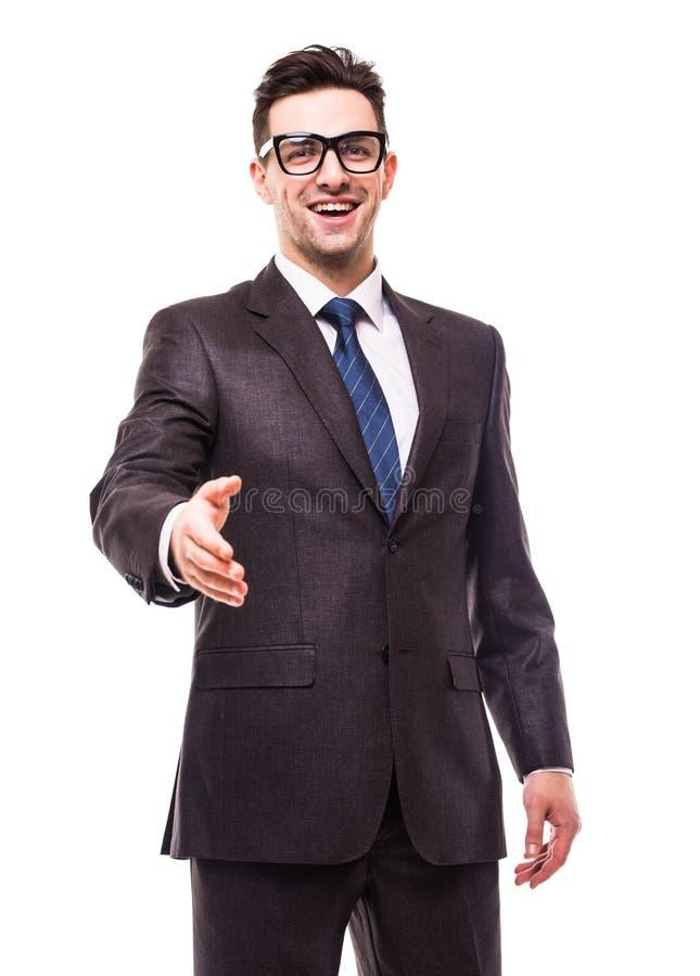 L'homme d'affaires avec la main s'est prolongé à la poignée de main d'isolement au-dessus du blanc image libre de droits