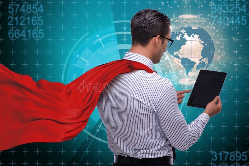 L'homme d'affaires avec la tablette et la couverture rouge illustration de vecteur