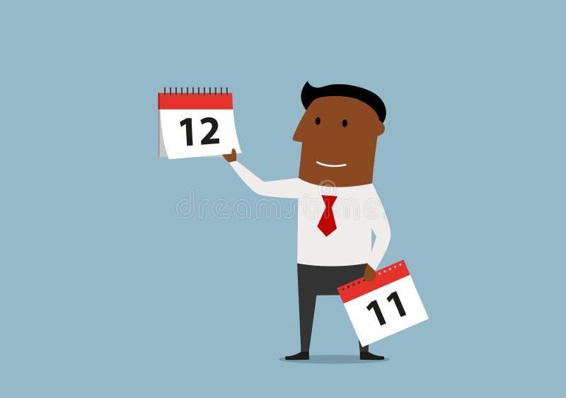 L'homme d'affaires avec le calendrier paginent le mois dernier illustration stock