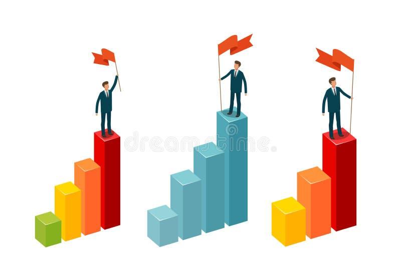 L'homme d'affaires avec le drapeau se tient sur le dessus Concept d'affaires Illustration de vecteur d'Infographics illustration libre de droits