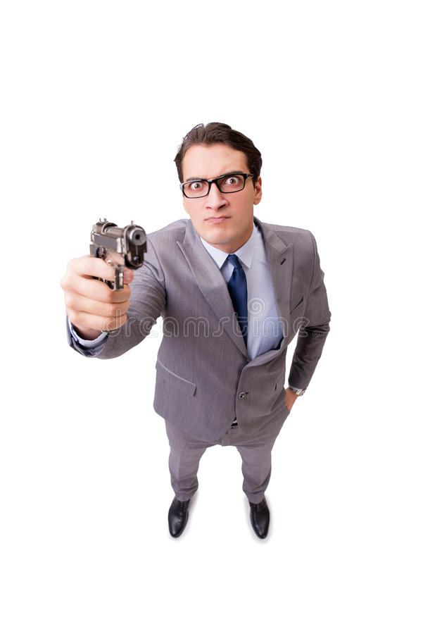 L'homme d'affaires avec le pistolet d'isolement sur le fond blanc photos libres de droits
