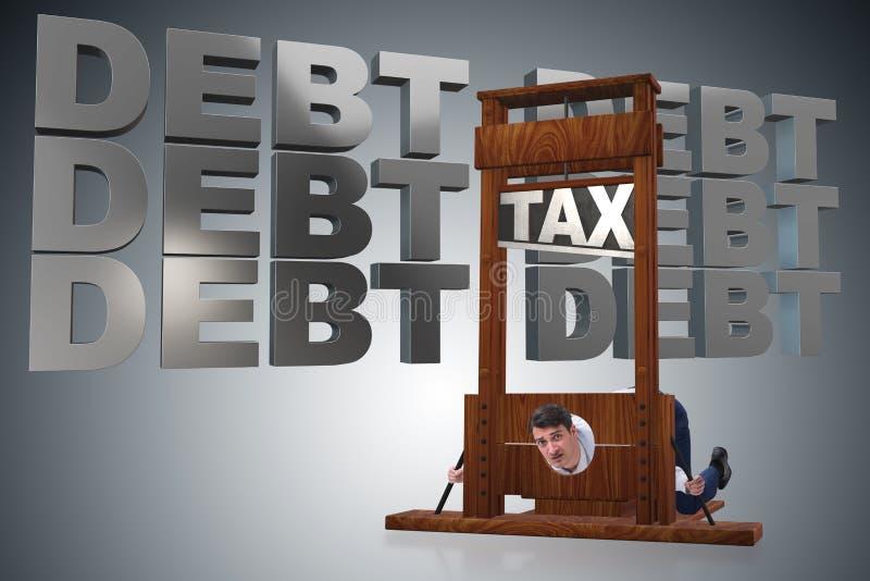 L'homme d'affaires ayant des problèmes avec payer des impôts illustration stock