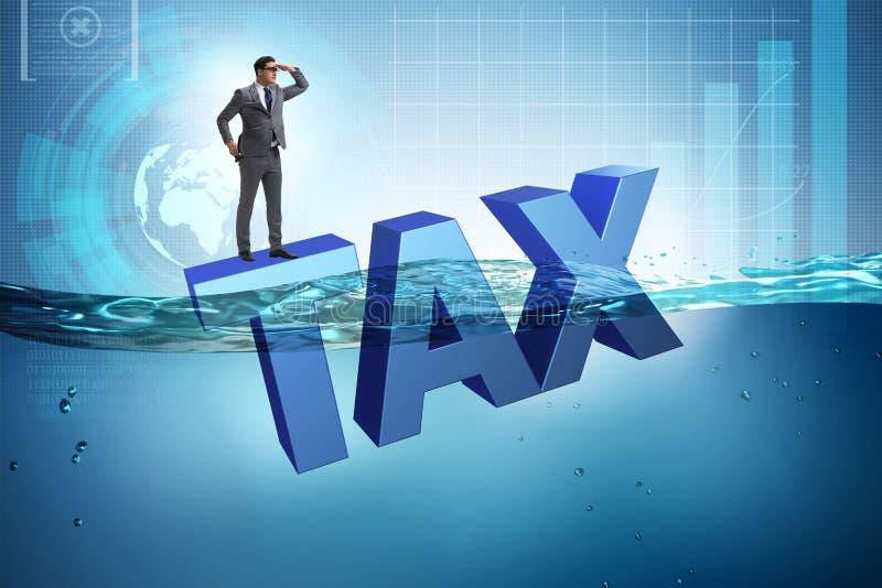 L'homme d'affaires ayant des problèmes avec payer des impôts illustration libre de droits