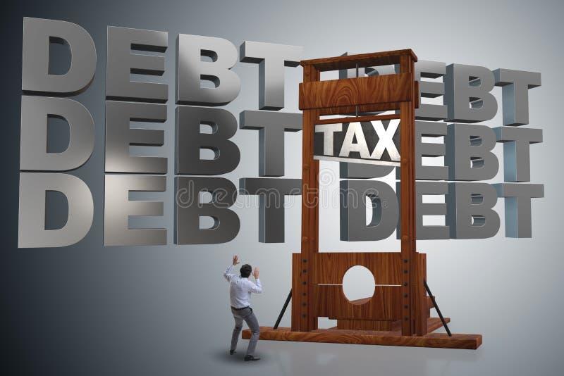 L'homme d'affaires ayant des problèmes avec payer des impôts illustration de vecteur
