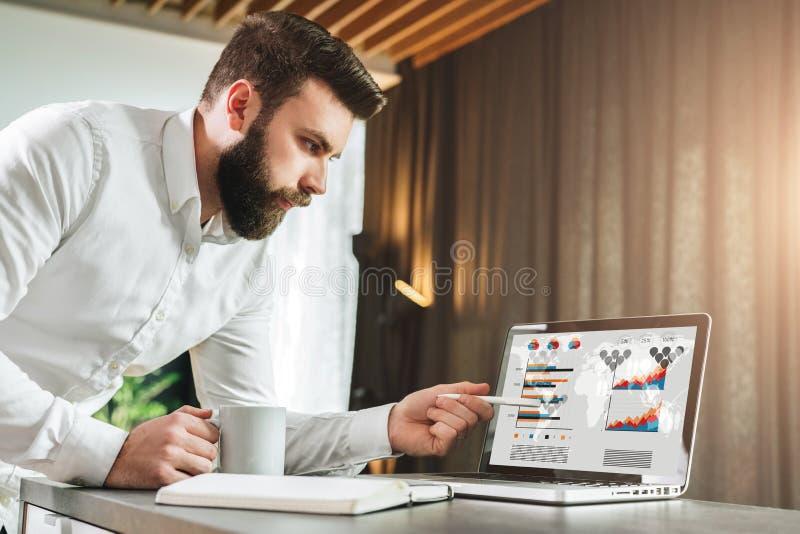 L'homme d'affaires barbu montre le stylo sur l'écran d'ordinateur portable Le jeune entrepreneur présente le plan d'action, montr image libre de droits