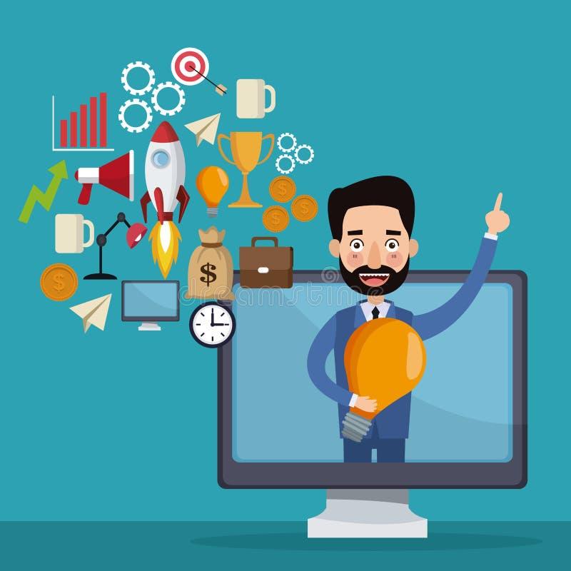 L'homme d'affaires bleu de fond de couleur sortant pour montrer l'ordinateur et les icônes geenerating des idées se tiennent le p illustration stock