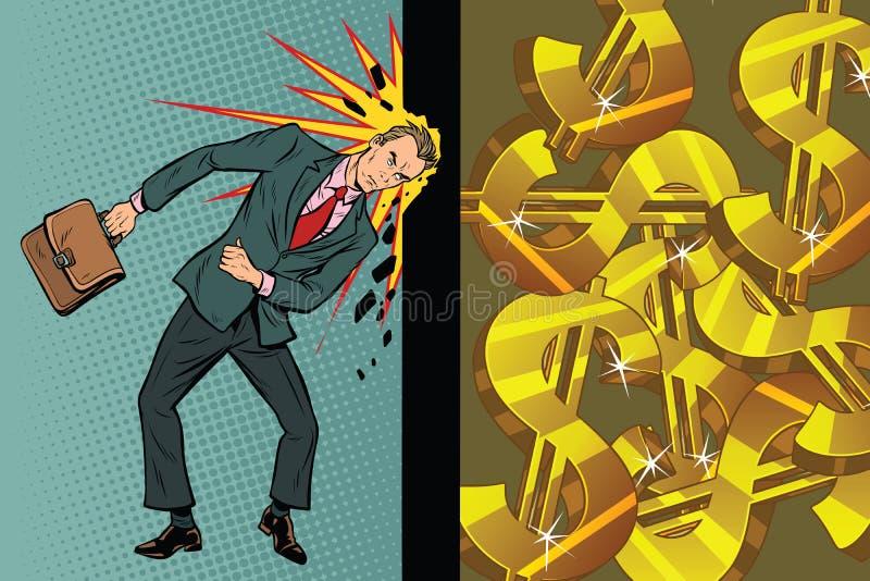 L'homme d'affaires casse le mur de sa tête, dollars et richesse illustration libre de droits