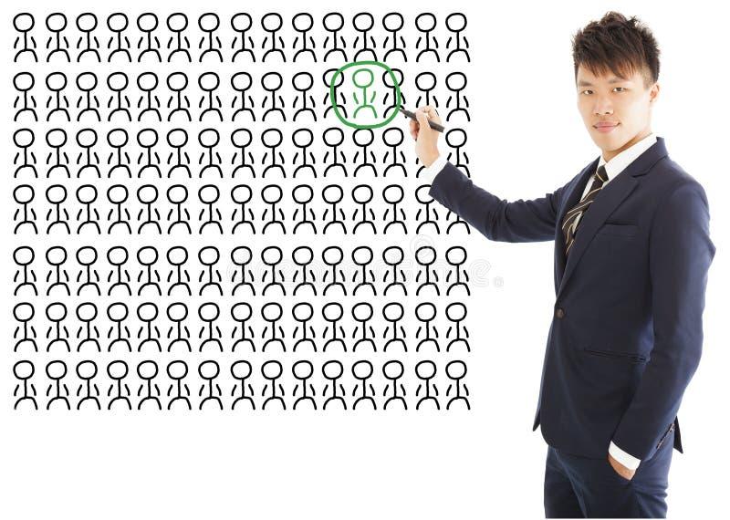 L'homme d'affaires choisissent un talent ou une bonne personne images stock