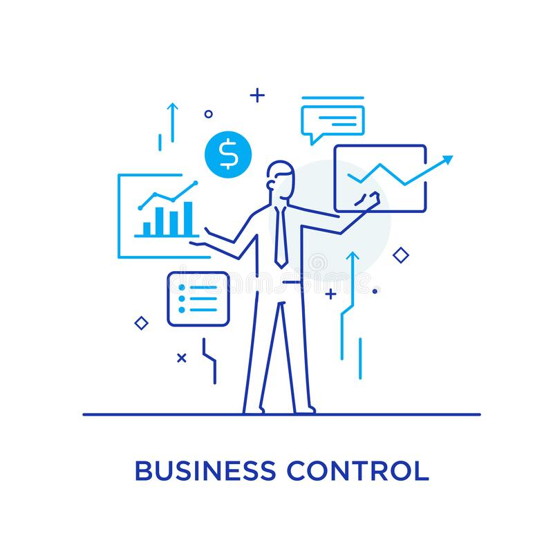 L'homme d'affaires commande l'interface des moniteurs Déroulement des opérations, croissance, graphiques Développement des affair illustration de vecteur