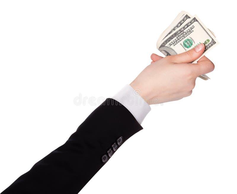 L'homme d'affaires compte l'argent dans des mains photos libres de droits