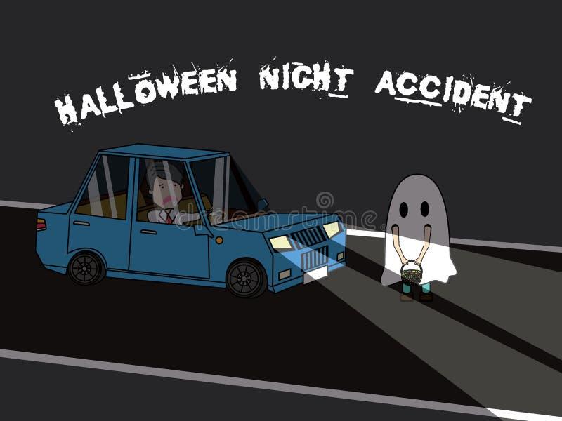L'homme d'affaires conduisant la voiture frappe le costume d'enfants de Halloween illustration libre de droits