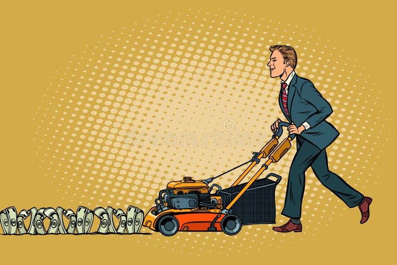 L'homme d'affaires coupe l'argent comme un homme de tondeuse à gazon Richesse et financia illustration de vecteur