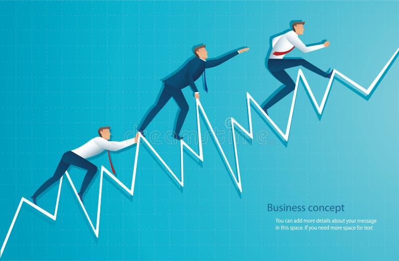 L'homme d'affaires court sur le graphique, l'employé courant jusqu'au dessus de la flèche, succès, accomplissement, défectuosité  illustration libre de droits