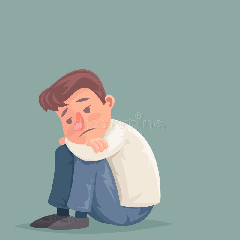 L'homme d'affaires déprimé souffrent l'illustration mélancolique de vecteur de conception de bande dessinée de caractère d'effort illustration libre de droits