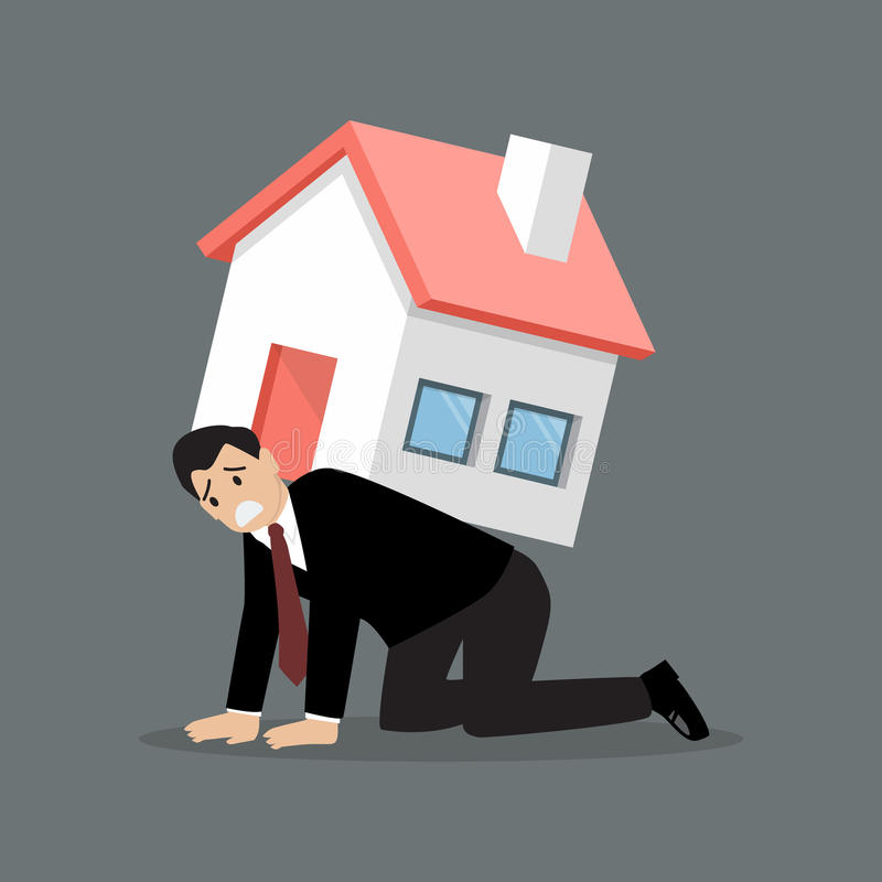L'homme d'affaires désespéré portent une maison lourde illustration libre de droits