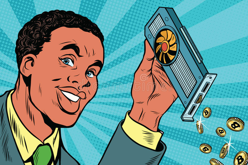 L'homme d'affaires d'afro-américain extrait des bitcoins avec une voiture visuelle illustration stock