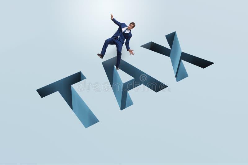 L'homme d'affaires dans l'impôt financier et le concept d'affaires illustration libre de droits