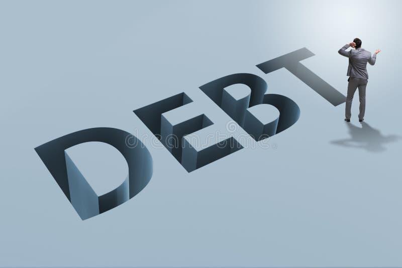 L'homme d'affaires dans la dette et le concept d'emprunt illustration libre de droits