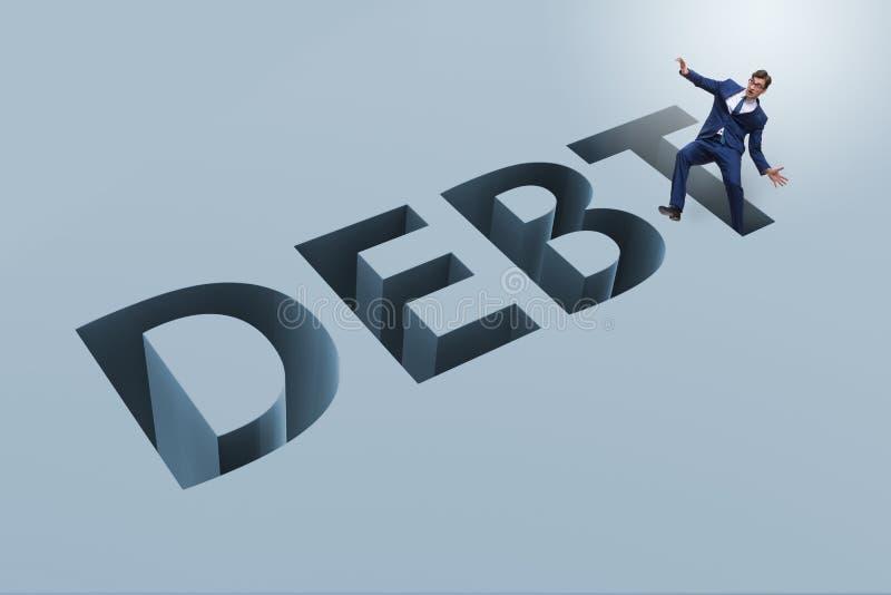 L'homme d'affaires dans la dette et le concept d'emprunt illustration de vecteur