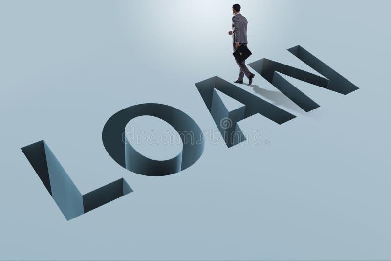 L'homme d'affaires dans la dette et le concept d'emprunt illustration stock