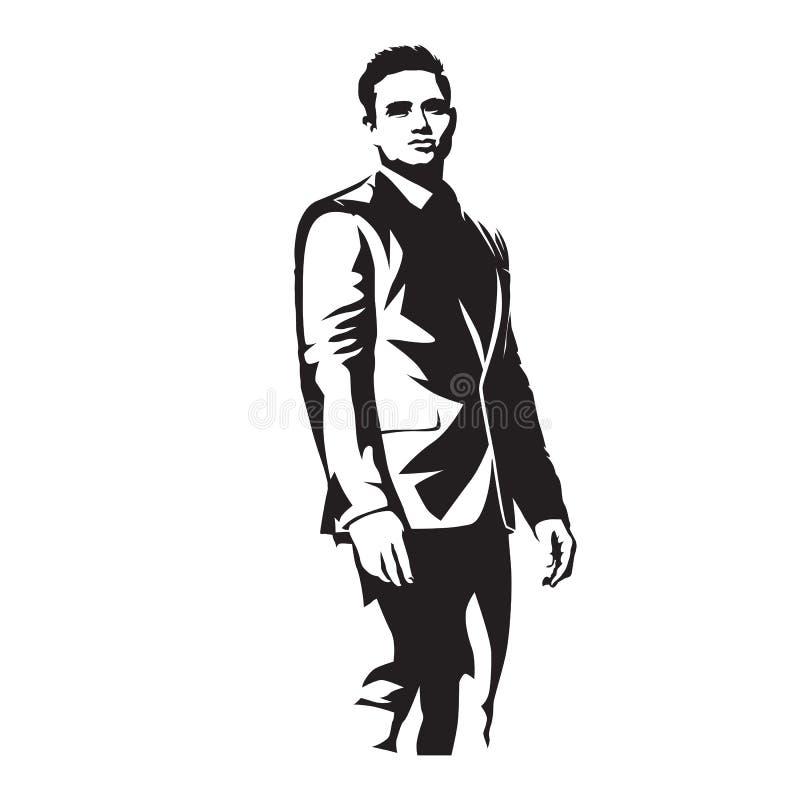 L'homme d'affaires dans la position de costume, vecteur a isolé l'illustration illustration libre de droits