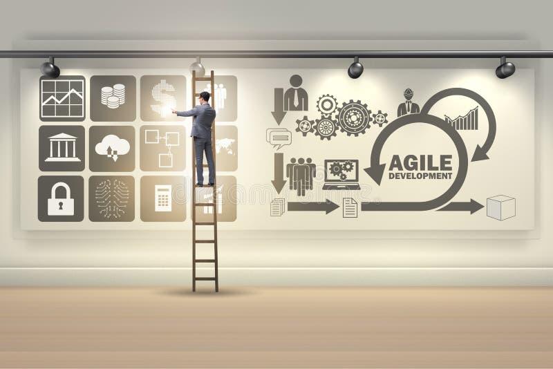 L'homme d'affaires dans le concept agile de développement de logiciel illustration de vecteur