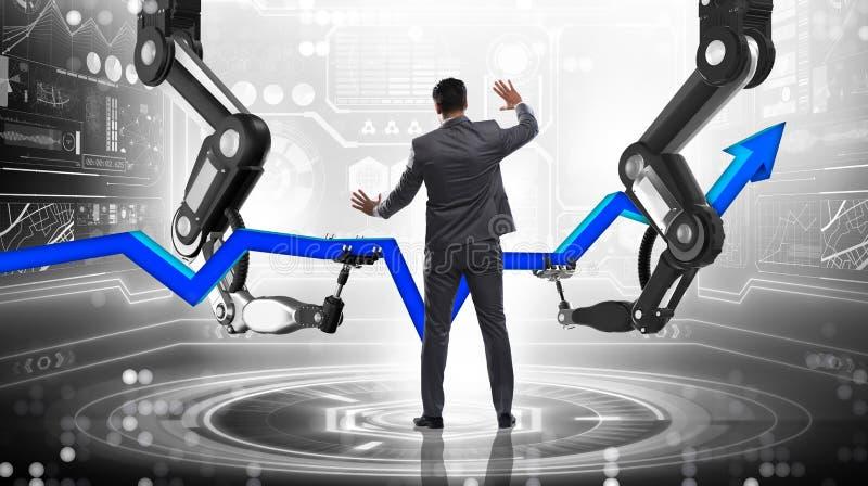 L'homme d'affaires dans le concept d'affaires avec le bras robotique images stock