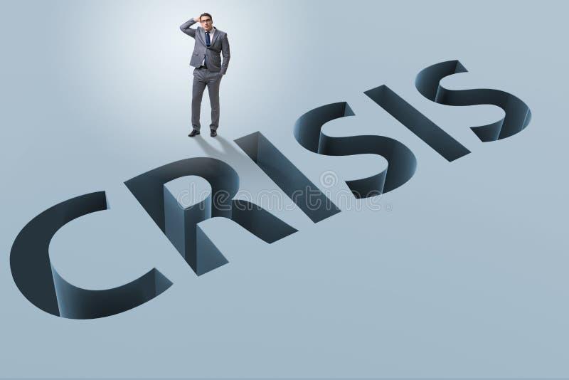 L'homme d'affaires dans le concept d'affaires de crise financière illustration libre de droits