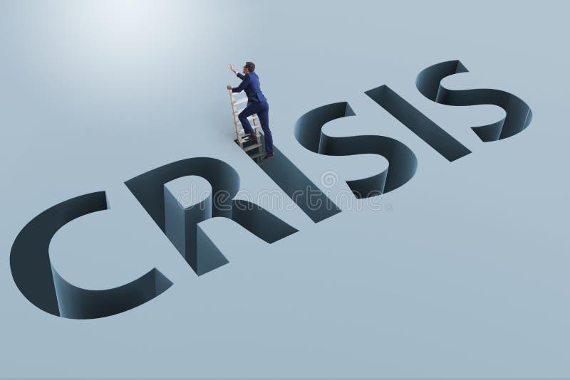 L'homme d'affaires dans le concept d'affaires de crise financière illustration stock